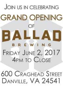 Grand Opening of Ballad Brewing, June 2, 2017